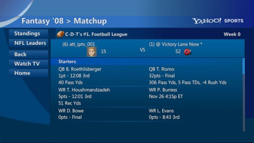 Yahoo! Fantasy Football on U-verse TV